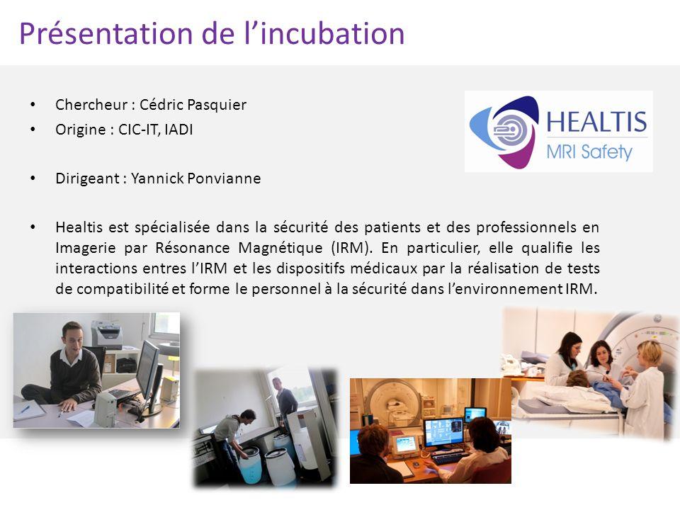 Présentation de lincubation Chercheur : Cédric Pasquier Origine : CIC-IT, IADI Dirigeant : Yannick Ponvianne Healtis est spécialisée dans la sécurité