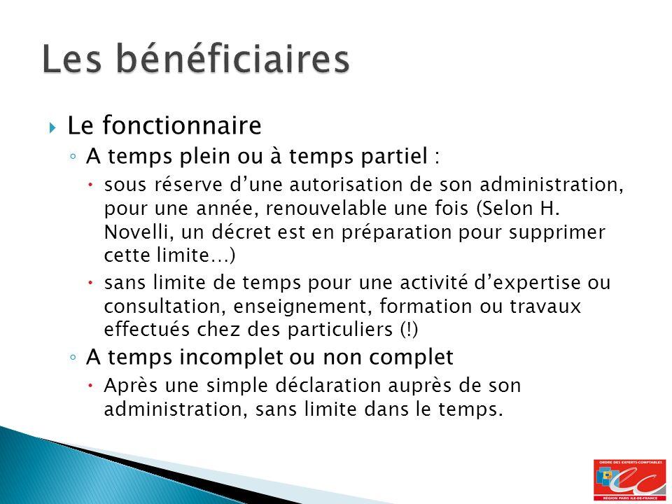 Le fonctionnaire A temps plein ou à temps partiel : sous réserve dune autorisation de son administration, pour une année, renouvelable une fois (Selon H.
