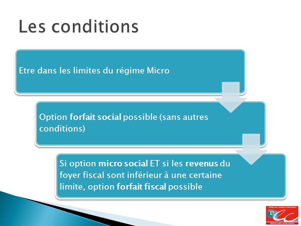 Etre dans les limites du régime Micro Option forfait social possible (sans autres conditions) Si option micro social ET si les revenus du foyer fiscal sont inférieur à une certaine limite, option forfait fiscal possible