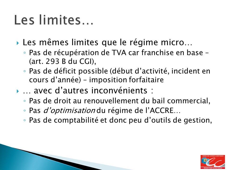 Les mêmes limites que le régime micro… Pas de récupération de TVA car franchise en base – (art.