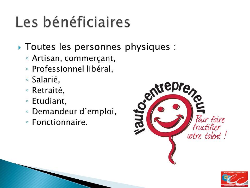 Toutes les personnes physiques : Artisan, commerçant, Professionnel libéral, Salarié, Retraité, Etudiant, Demandeur demploi, Fonctionnaire.