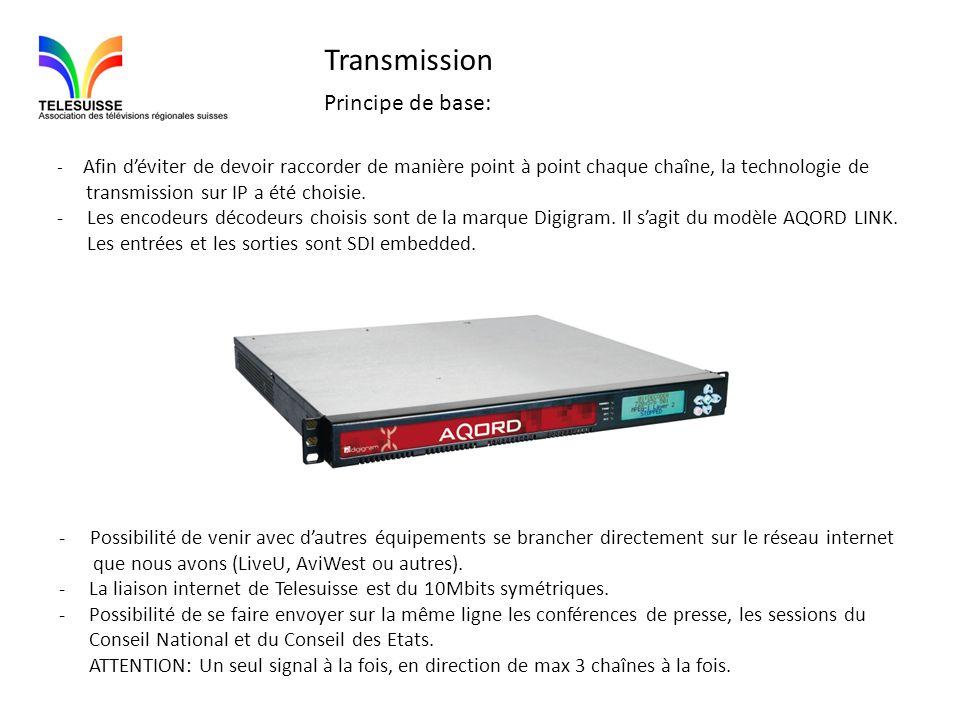 Transmission Principe de base: - Afin déviter de devoir raccorder de manière point à point chaque chaîne, la technologie de transmission sur IP a été