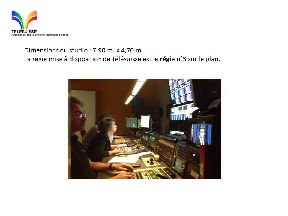 Dimensions du studio : 7,90 m. x 4,70 m. La régie mise à disposition de Télésuisse est la régie n°3 sur le plan.