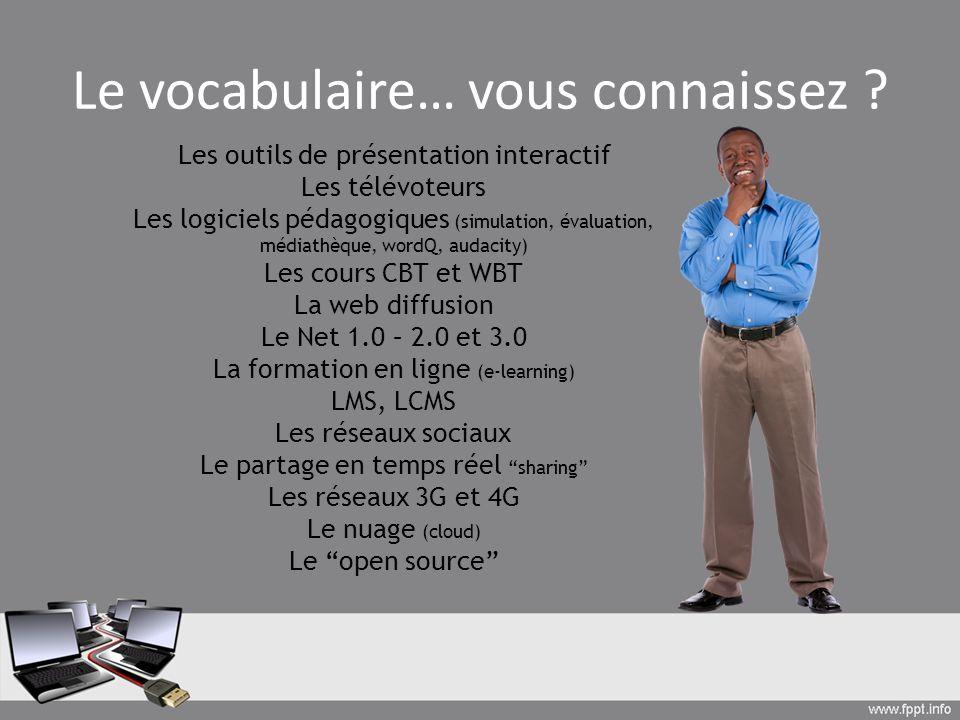 Le vocabulaire… vous connaissez ? Les outils de présentation interactif Les télévoteurs Les logiciels pédagogiques (simulation, évaluation, médiathèqu