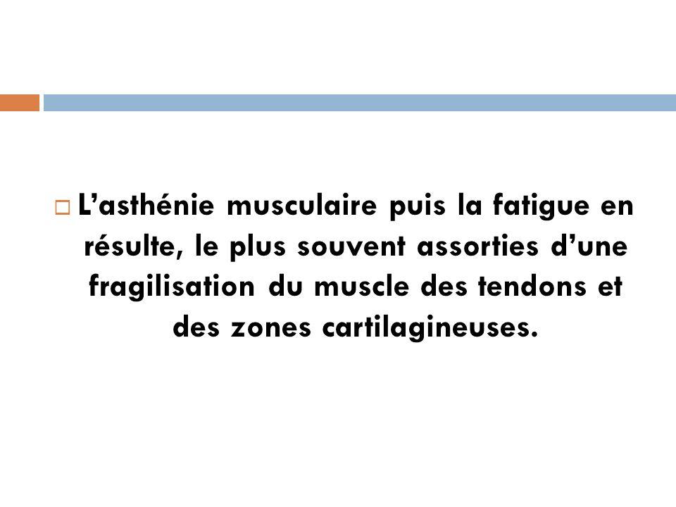 Lasthénie musculaire puis la fatigue en résulte, le plus souvent assorties dune fragilisation du muscle des tendons et des zones cartilagineuses.