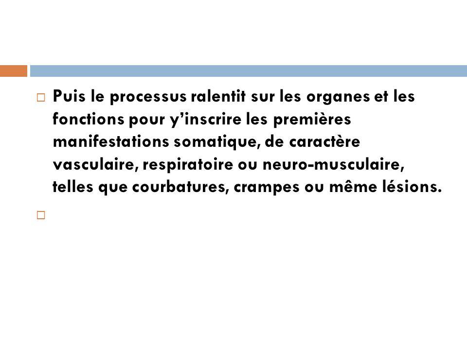 Puis le processus ralentit sur les organes et les fonctions pour yinscrire les premières manifestations somatique, de caractère vasculaire, respiratoi