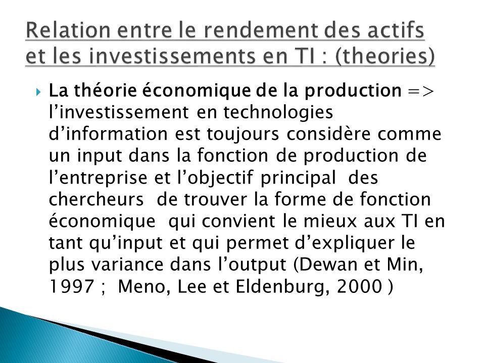 La théorie économique de la production => linvestissement en technologies dinformation est toujours considère comme un input dans la fonction de produ