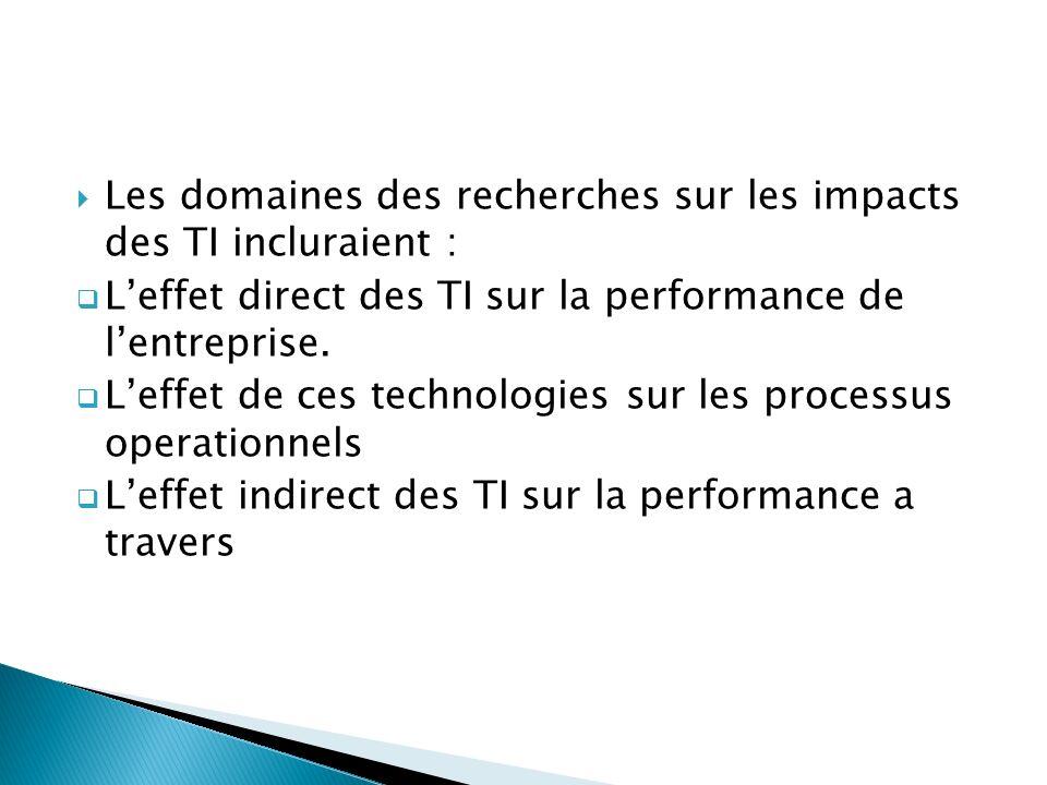 Les domaines des recherches sur les impacts des TI incluraient : Leffet direct des TI sur la performance de lentreprise. Leffet de ces technologies su