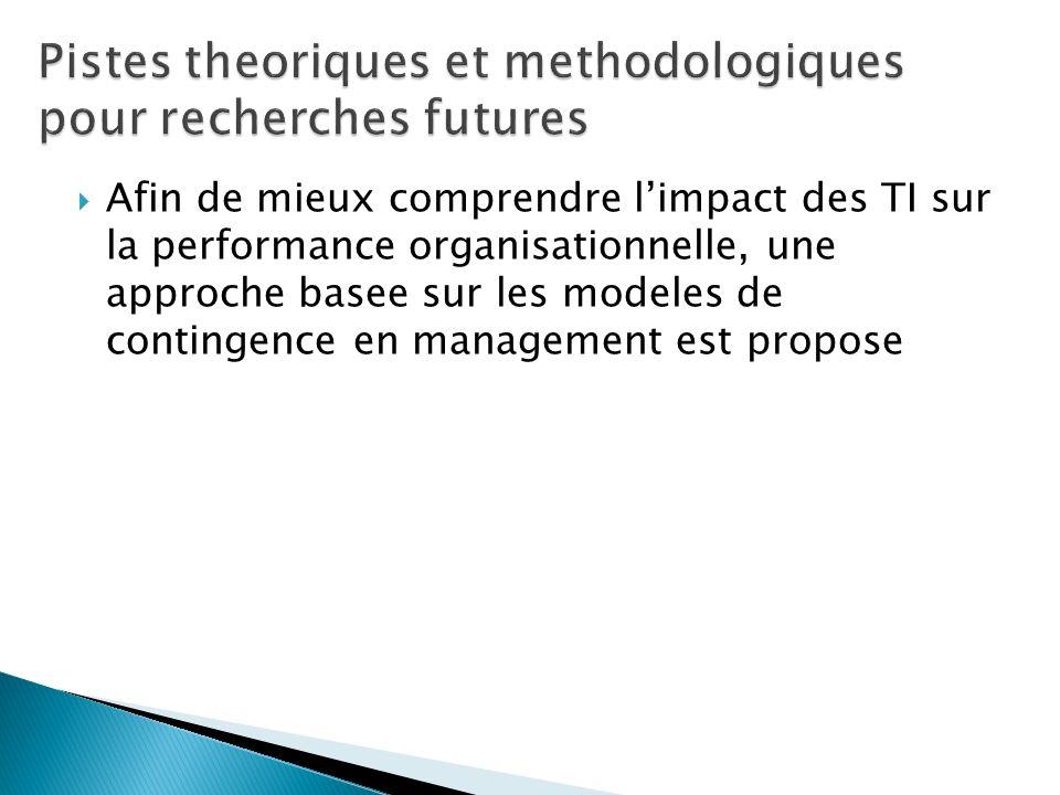 Afin de mieux comprendre limpact des TI sur la performance organisationnelle, une approche basee sur les modeles de contingence en management est prop