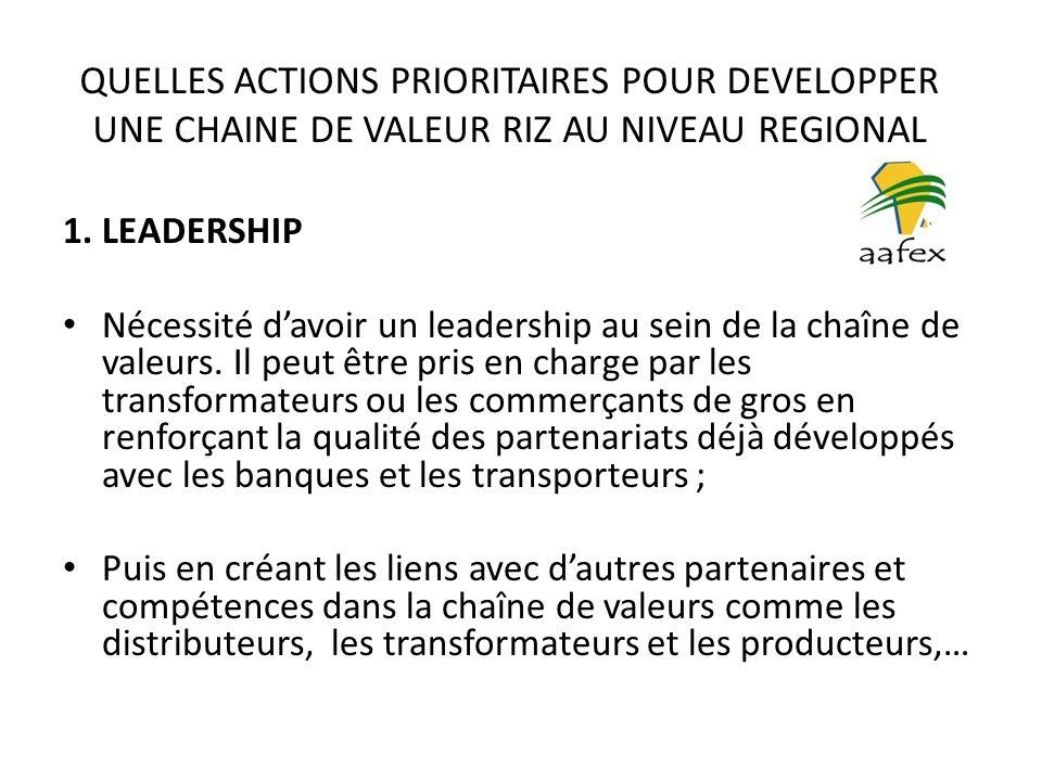 QUELLES ACTIONS PRIORITAIRES POUR DEVELOPPER UNE CHAINE DE VALEUR RIZ AU NIVEAU REGIONAL 1.