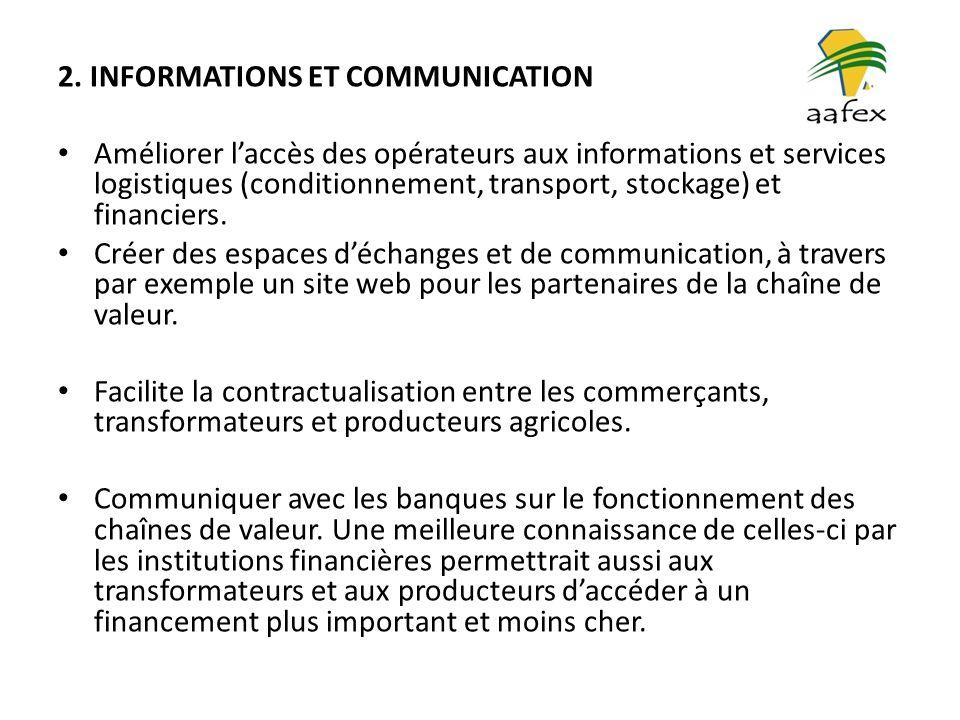 2. INFORMATIONS ET COMMUNICATION Améliorer laccès des opérateurs aux informations et services logistiques (conditionnement, transport, stockage) et fi
