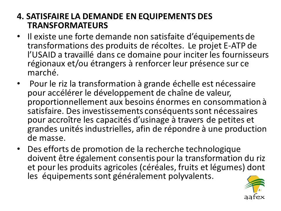 4. SATISFAIRE LA DEMANDE EN EQUIPEMENTS DES TRANSFORMATEURS Il existe une forte demande non satisfaite déquipements de transformations des produits de