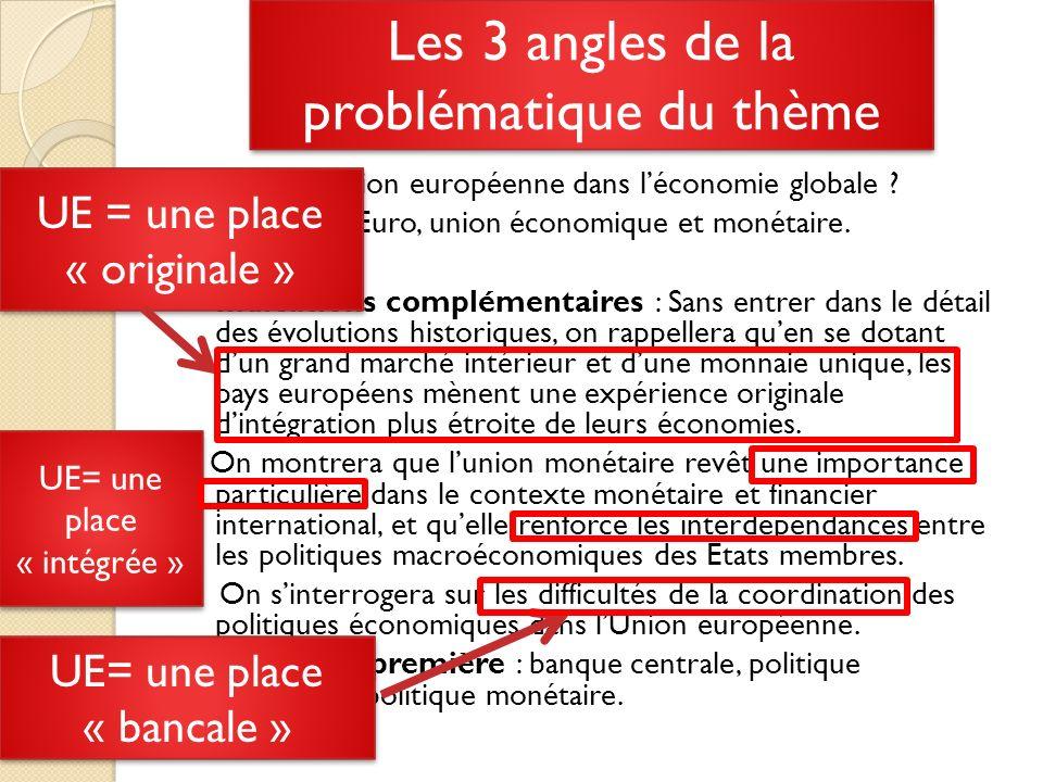 2/ LUE= une place « forte » Sappuyer sur le thème précédent: louverture commerciale entraine des gains à léchange Question problème: pourquoi les EU diffusent les innovations alors que les pays européens inventent .