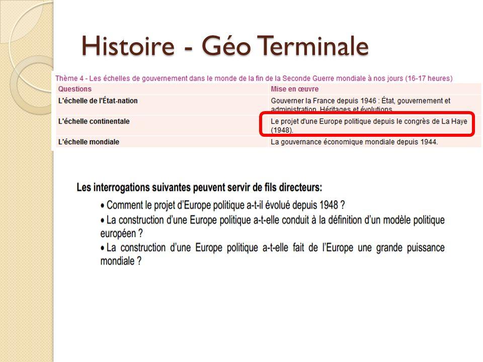 Histoire - Géo Terminale