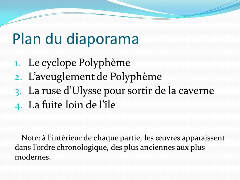 Plan du diaporama 1. Le cyclope Polyphème 2. Laveuglement de Polyphème 3. La ruse dUlysse pour sortir de la caverne 4. La fuite loin de lîle Note: à l
