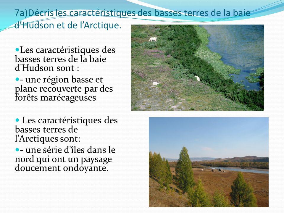 7a)Décris les caractéristiques des basses terres de la baie dHudson et de lArctique. Les caractéristiques des basses terres de la baie d'Hudson sont :