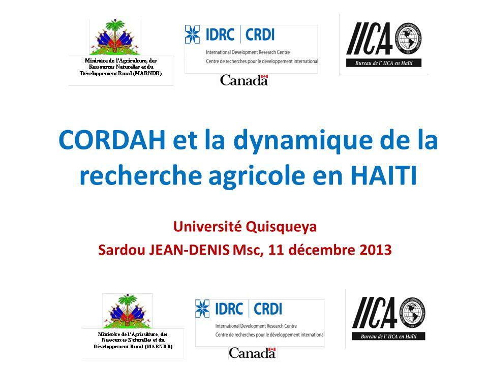 CORDAH et la dynamique de la recherche agricole en HAITI Université Quisqueya Sardou JEAN-DENIS Msc, 11 décembre 2013