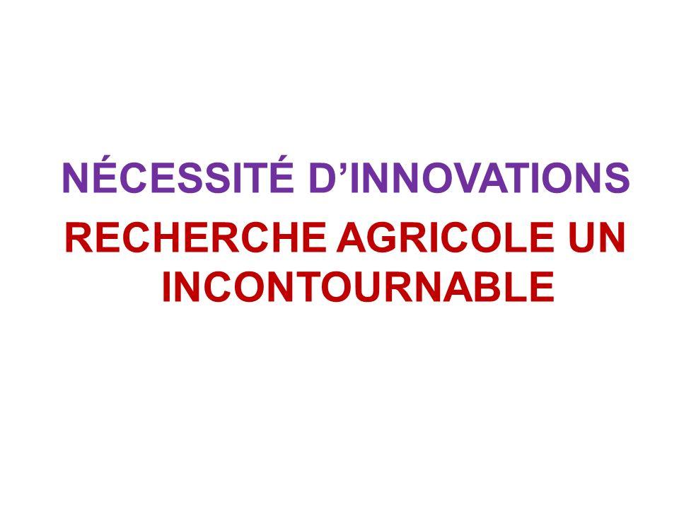NÉCESSITÉ DINNOVATIONS RECHERCHE AGRICOLE UN INCONTOURNABLE