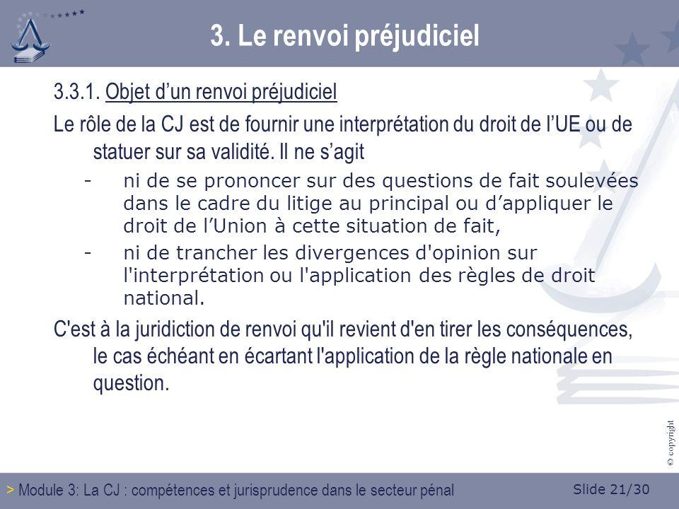 Slide 21/30 © copyright 3. Le renvoi préjudiciel 3.3.1.
