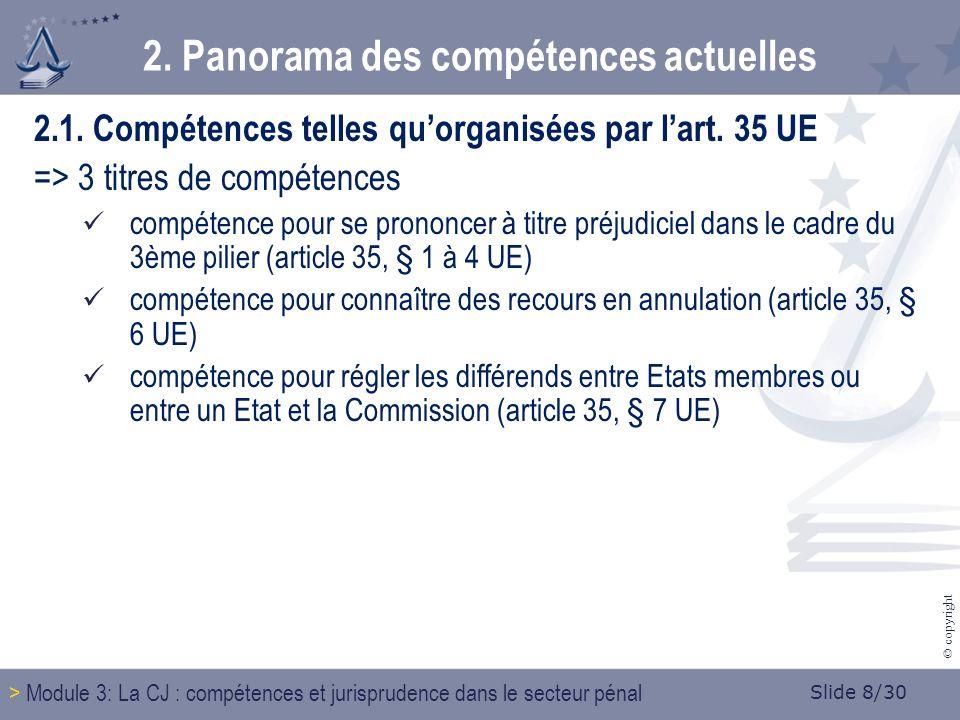 Slide 8/30 © copyright 2.1. Compétences telles quorganisées par lart.