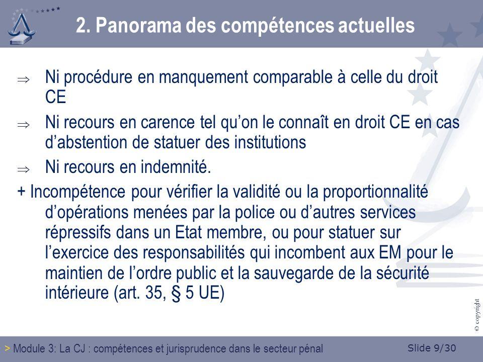 Slide 10/30 © copyright 2.Panorama des compétences actuelles 2.2.