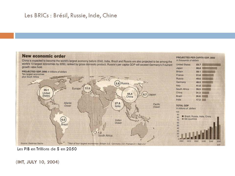 Les BRICs : Brésil, Russie, Inde, Chine (IHT, JULY 10, 2004) Les PIB en Trillions de $ en 2050