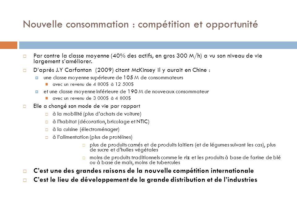 Nouvelle consommation : compétition et opportunité Par contre la classe moyenne (40% des actifs, en gros 300 M/h) a vu son niveau de vie largement sam