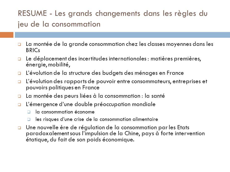 RESUME - Les grands changements dans les règles du jeu de la consommation La montée de la grande consommation chez les classes moyennes dans les BRICs
