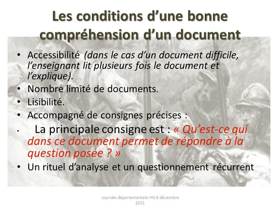 Les conditions dune bonne compréhension dun document Accessibilité (dans le cas dun document difficile, lenseignant lit plusieurs fois le document et lexplique).
