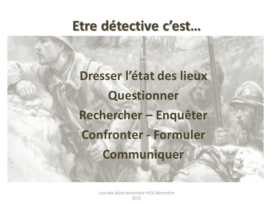 Etre détective cest… Dresser létat des lieux Questionner Rechercher – Enquêter Confronter - Formuler Communiquer Journée départementale HG 6 décembre 2011