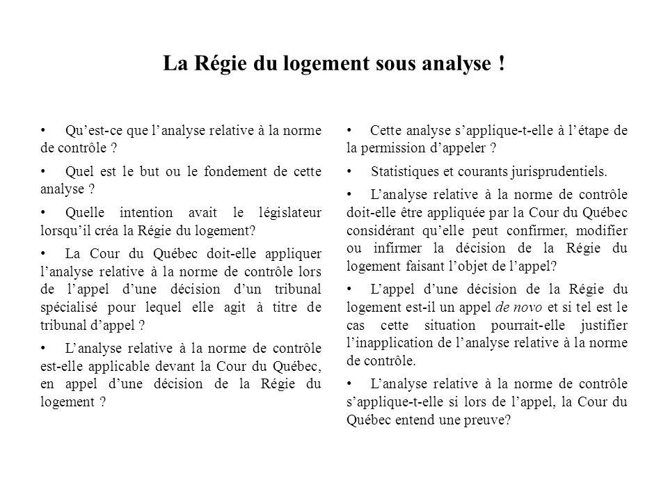 La Régie du logement sous analyse ! Quest-ce que lanalyse relative à la norme de contrôle ? Quel est le but ou le fondement de cette analyse ? Quelle