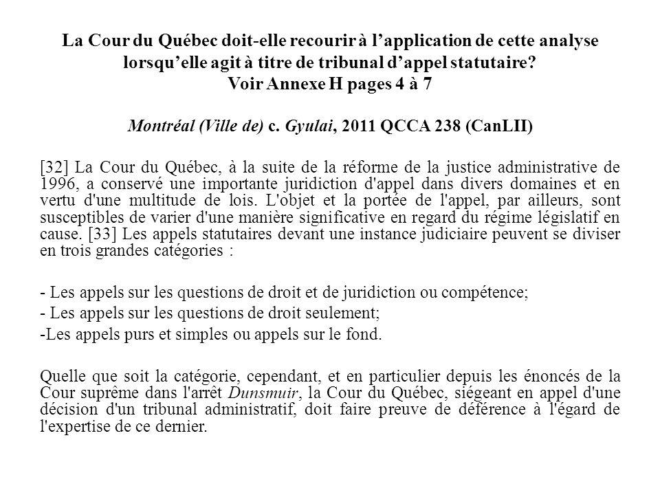 La Cour du Québec doit-elle recourir à lapplication de cette analyse lorsquelle agit à titre de tribunal dappel statutaire? Voir Annexe H pages 4 à 7