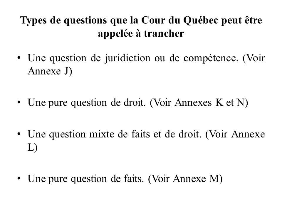 Types de questions que la Cour du Québec peut être appelée à trancher Une question de juridiction ou de compétence. (Voir Annexe J) Une pure question