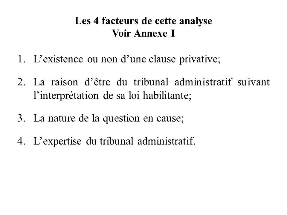 Les 4 facteurs de cette analyse Voir Annexe I 1.Lexistence ou non dune clause privative; 2.La raison dêtre du tribunal administratif suivant linterpré