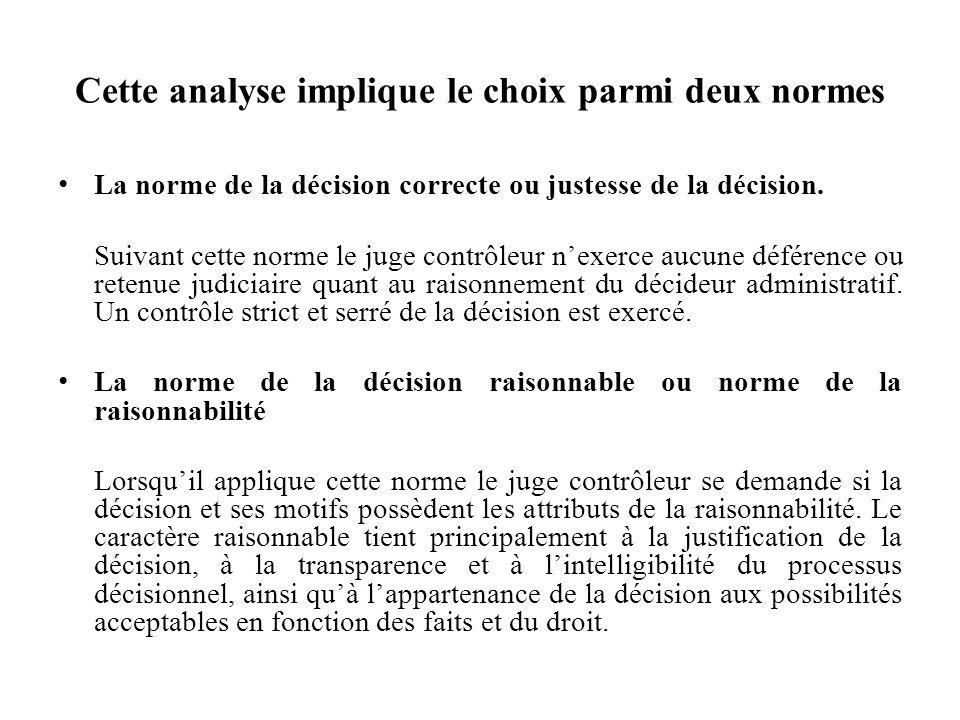 Cette analyse implique le choix parmi deux normes La norme de la décision correcte ou justesse de la décision. Suivant cette norme le juge contrôleur