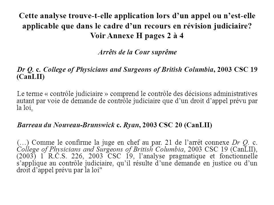 Cette analyse trouve-t-elle application lors dun appel ou nest-elle applicable que dans le cadre dun recours en révision judiciaire? Voir Annexe H pag