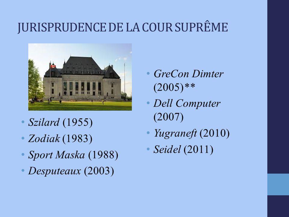 JURISPRUDENCE DE LA COUR SUPRÊME Szilard (1955) Zodiak (1983) Sport Maska (1988) Desputeaux (2003) GreCon Dimter (2005)** Dell Computer (2007) Yugraneft (2010) Seidel (2011)