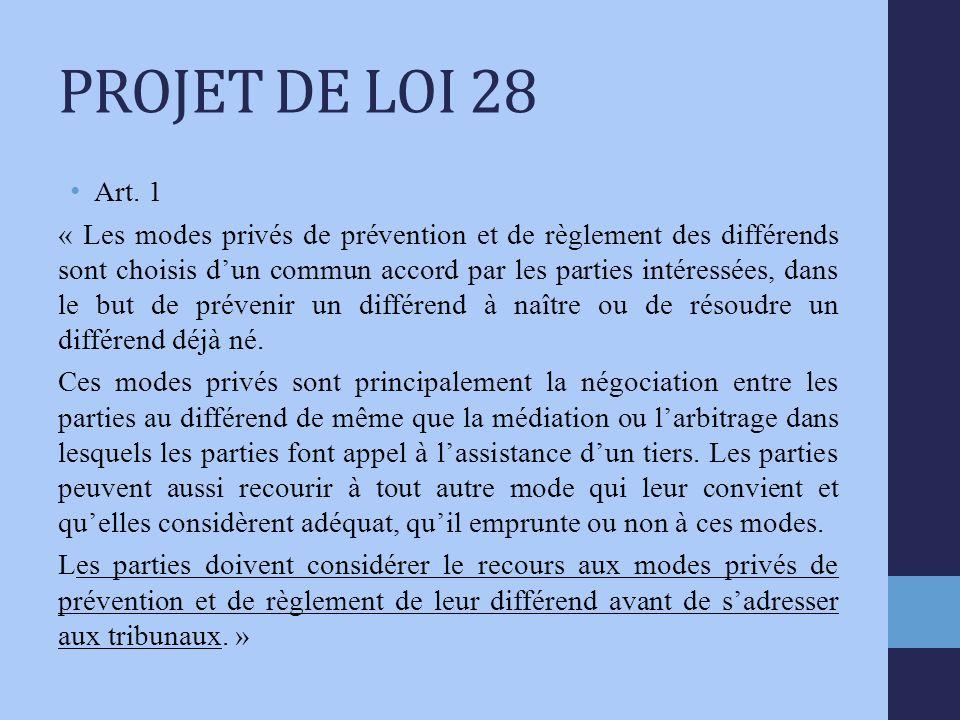 PROJET DE LOI 28 Art.