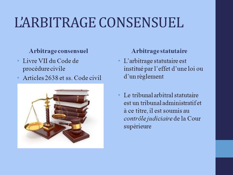 LARBITRAGE CONSENSUEL Arbitrage consensuel Livre VII du Code de procédure civile Articles 2638 et ss.