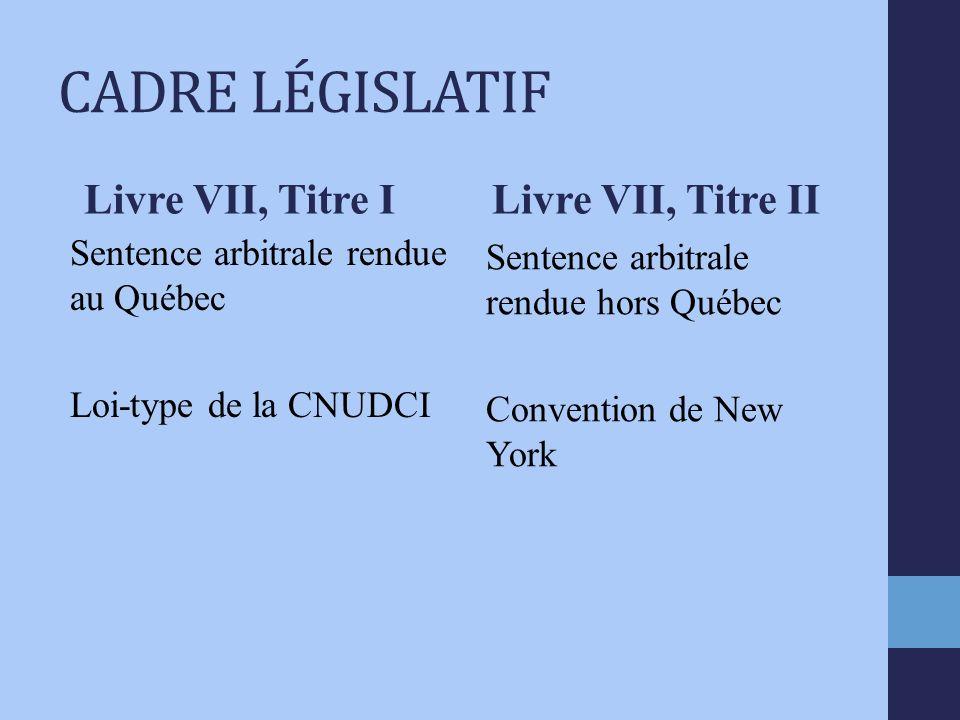 CADRE LÉGISLATIF Livre VII, Titre I Sentence arbitrale rendue au Québec Loi-type de la CNUDCI Livre VII, Titre II Sentence arbitrale rendue hors Québec Convention de New York