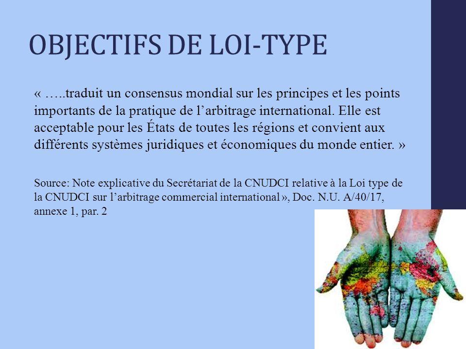 OBJECTIFS DE LOI-TYPE « …..traduit un consensus mondial sur les principes et les points importants de la pratique de larbitrage international.