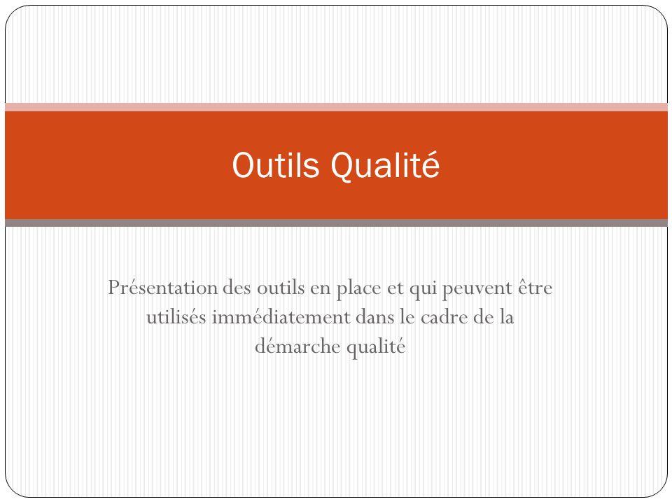 Présentation des outils en place et qui peuvent être utilisés immédiatement dans le cadre de la démarche qualité Outils Qualité