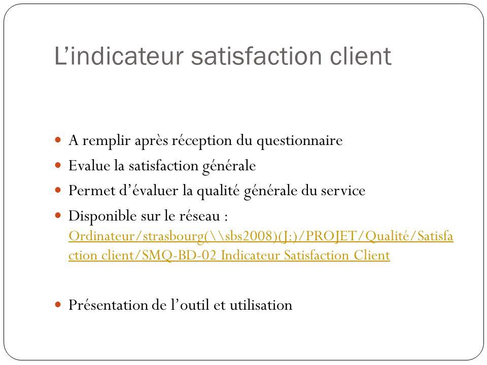 Lindicateur satisfaction client A remplir après réception du questionnaire Evalue la satisfaction générale Permet dévaluer la qualité générale du serv