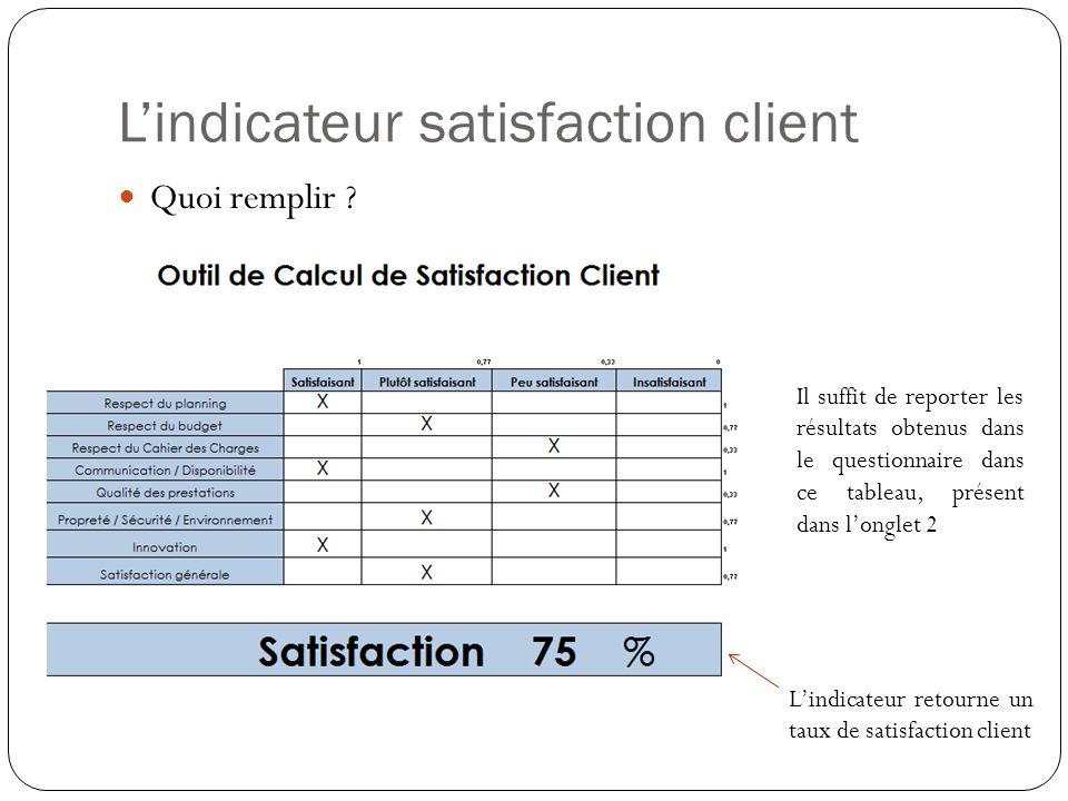 Lindicateur satisfaction client Quoi remplir ? Il suffit de reporter les résultats obtenus dans le questionnaire dans ce tableau, présent dans longlet