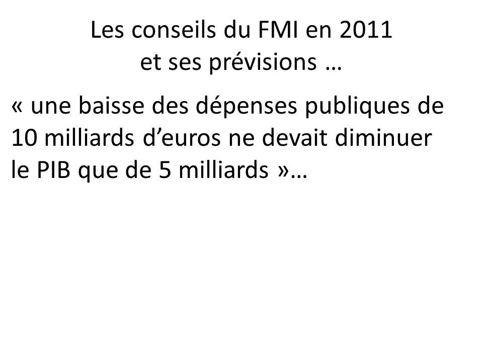 Les conseils du FMI en 2011 et ses prévisions … « une baisse des dépenses publiques de 10 milliards deuros ne devait diminuer le PIB que de 5 milliards »…