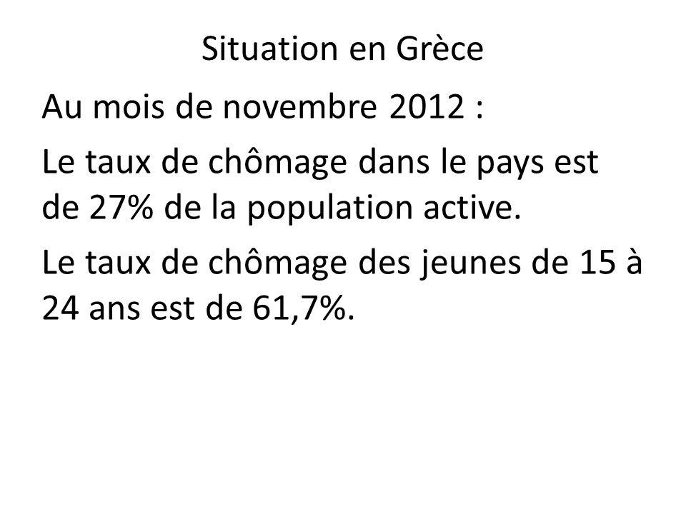 Situation en Grèce Au mois de novembre 2012 : Le taux de chômage dans le pays est de 27% de la population active.