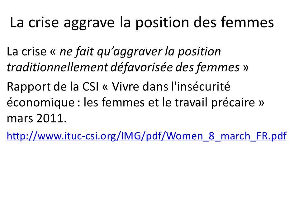 La crise aggrave la position des femmes La crise « ne fait quaggraver la position traditionnellement défavorisée des femmes » Rapport de la CSI « Vivre dans l insécurité économique : les femmes et le travail précaire » mars 2011.