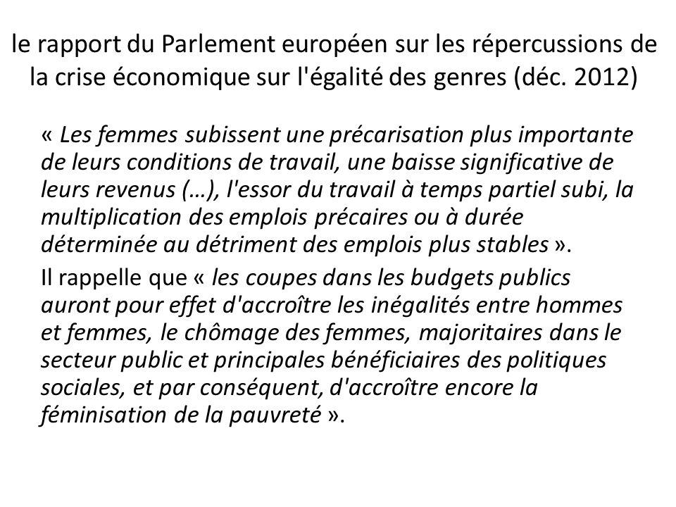 le rapport du Parlement européen sur les répercussions de la crise économique sur l égalité des genres (déc.
