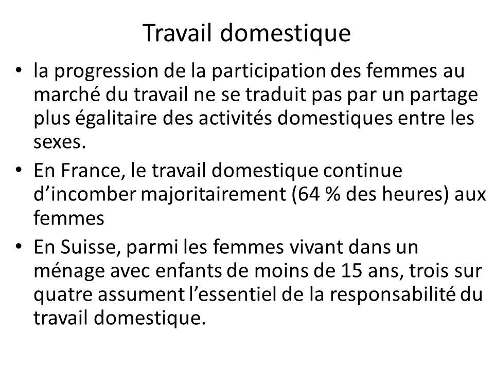 Travail domestique la progression de la participation des femmes au marché du travail ne se traduit pas par un partage plus égalitaire des activités domestiques entre les sexes.