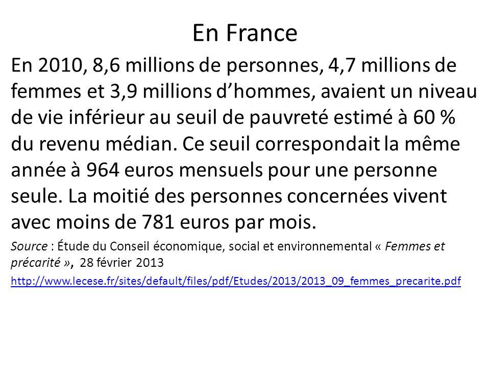 En France En 2010, 8,6 millions de personnes, 4,7 millions de femmes et 3,9 millions dhommes, avaient un niveau de vie inférieur au seuil de pauvreté estimé à 60 % du revenu médian.